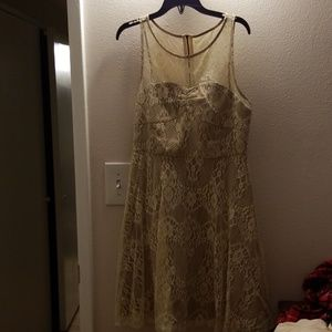 NWOT small Forever 21 champagne cream lace dress